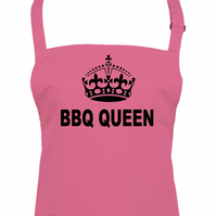 BBQ QUEEN- Barbecue Time, outdoor loving cool crown, ladies apron -AA1362