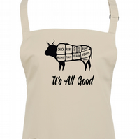 IT'S ALL GOOD' - Cow Meat Diagram- cool, graphic apron - AA1368