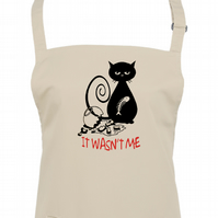 IT WASN'T ME- Naughty Cat with Fish, funny, silly unisex apron - AA1379