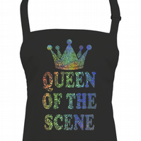 Queen Of the Scene- Holographic Shiney Print - chef's apron  AA2360