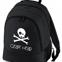 GEAR HEAD- humorous, silly BackPack Rucksack Bag  -BPK1499