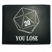 D20 YOU LOSE- Role Playing Gamer -Men's Genuine Leather Wallet  - WBF1038