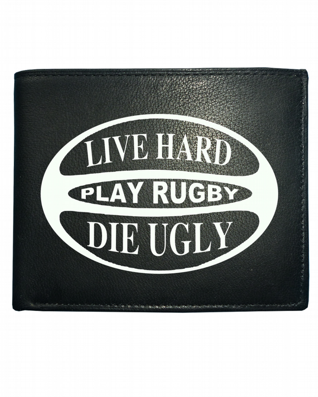 Live Hard. Play Rugby. Die Ugly- Men's  Leather Wallet- WBF1666