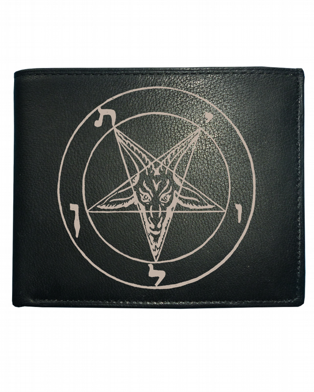 GOATS HEAD PENTAGON- devil symbol Men's  Leather Wallet -WBF1152