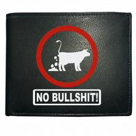 NO BULLSHIT- Funny, offensive, silly Men's  Leather Wallet- WBF1535