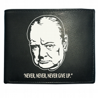 Never, Never, Never Give Up- WINSTON CHURCHILL QUOTE- Leather Wallet -WBF1087