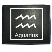 Aquarius 'THE WATER BEARER' horoscope sign- astrological Leather Wallet -WBF2101