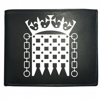 CROWNED PORTCULLIS- Royal Palace Symbol- Men's  Leather Wallet -WBF2064