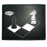 CHECK MATE- knight and pawn funny chess player Men's  Leather Wallet- WBF1197