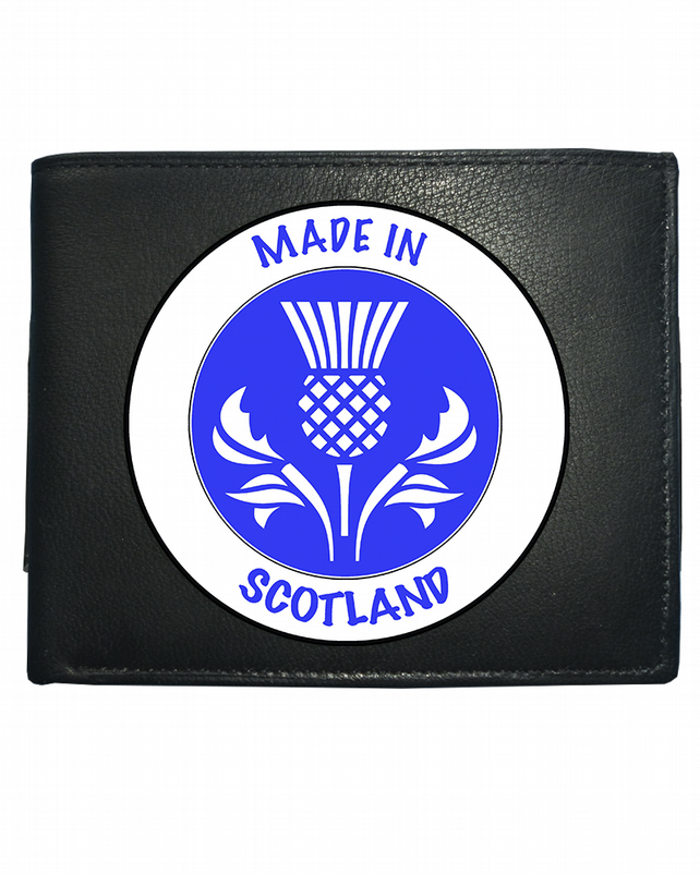 MADE IN SCOTLAND- National Pride Thistle Symbol- Leather Wallet -WBF2159