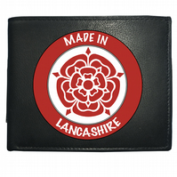 MADE IN LANCASHIRE- Regional Pride Red Rose Symbol- Leather Wallet -WBF2157