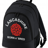 Lancashire, Born and Bred - Funny Keep Calm Style Backpack  - BPK1217