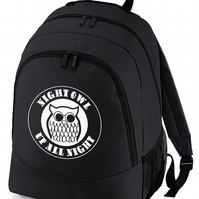 NIGHT OWL. Up All Night. Northern Soul Iconic Logo backpack bag  BPK2218