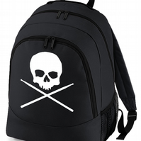 Skull and Cross Sticks - Drumstick drummer logo- backpack  - BPK1749