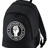 Northern Soul Keep The Faith - Fist Icon Backpack   -BPK1215
