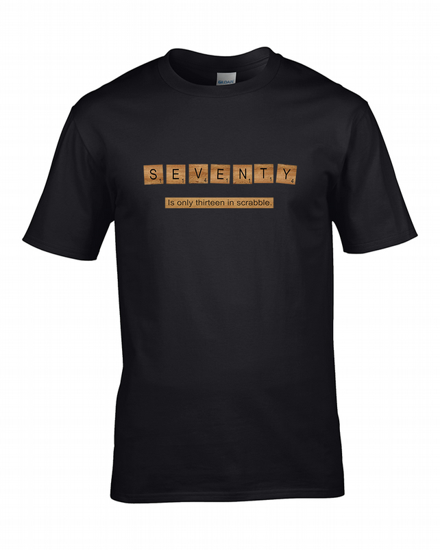 SEVENTY Is Only Thirteen in Scrabble. Ageing Game Parody Men's T-Shirt MTS1724