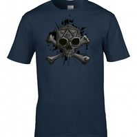 Twenty Sided Skull- D20 Skull & Crossbones - Men's T-Shirt MTS2200