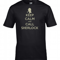 KEEP CALM AND CALL SHERLOCK- Famous Detective parody Men's t-shirt  - MTS1901