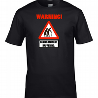 WARNING! SENIOR MOMENT - road sign funny Mens T shirt  - MTS1814