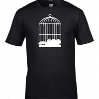 DEAD PARROT in a BIRD CAGE - Classic comedy sketch men's t-shirt - MTS1823
