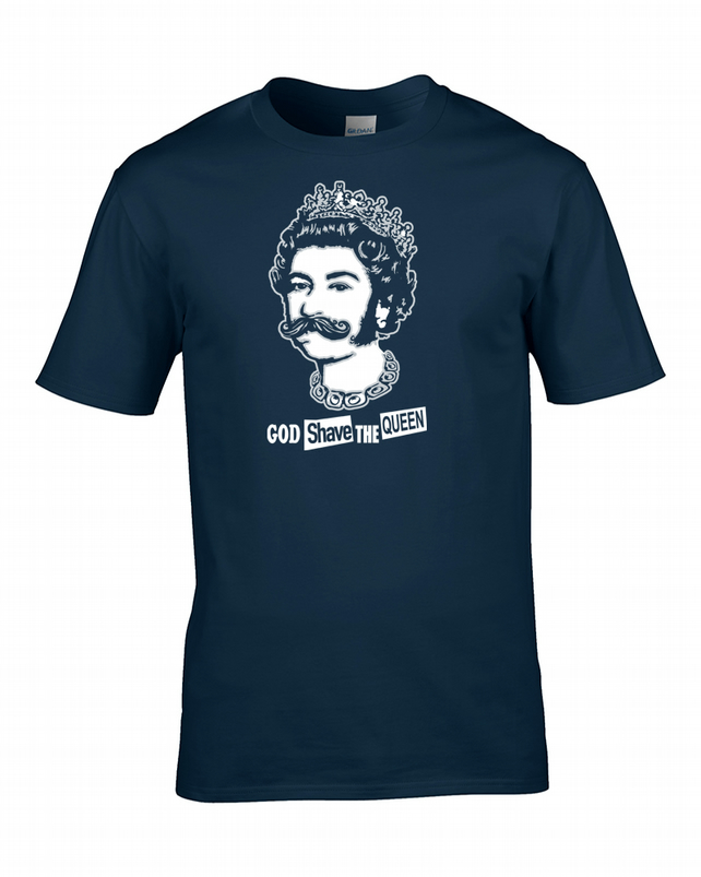 GOD SHAVE THE QUEEN- Funny, silly, witty, humorous Men's T-Shirt   - MTS1353