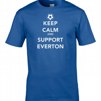 KEEP CALM AND SUPPORT EVERTON  - Mens Football Supporter T Shirt- MTS1466