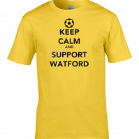 KEEP CALM AND SUPPORT  WATFORD  - Mens Football Supporter T Shirt- MTS1956