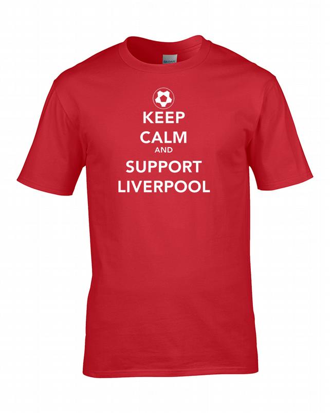 KEEP CALM AND SUPPORT LIVERPOOL - Mens Football Supporter T Shirt  - MTS1469