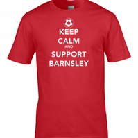 KEEP CALM AND SUPPORT BARNSLEY - Mens Football Supporter T Shirt - MTS1470