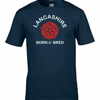 LANCASHIRE Born n' Bred- RED ROSE- Men's T-Shirt   - MTS1217