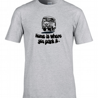 HOME IS WHERE YOU PARK IT- funny Camper Van Driver Men's T-Shirt- MTS1055