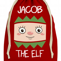 Personalised 'Elf Face' Christmas Present Sack Bag Stocking- Dimensions: 37x46cm