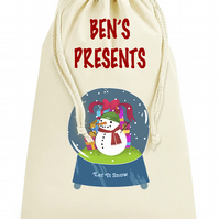 Giant XLarge Personalised Snowman Globe Christmas Present Sack Dimensions: 49x75