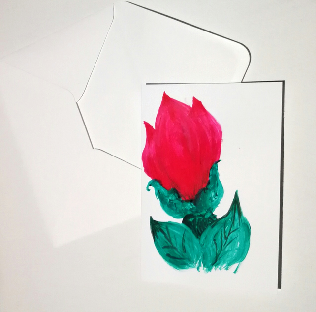 Hand Painted Greeting Card Folk - Flower