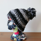 Regular fit chunky knit bobble beanie - black,white and silver sequin bobble hat