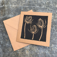 Teasel Hand Printed Linocut Greeting Card