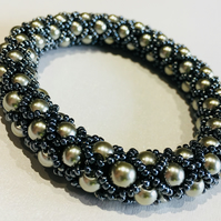 Hematite and silver chunky bangle