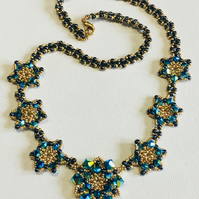 Swarovski crystal and gold bead necklace