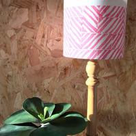 Hand Printed Lampshade, Chip In Perfect Pink With Blue Edge