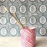 Handprinted Fabric Storage Pot, Chip in Perfect Pink
