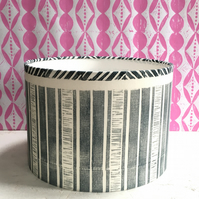 Handprinted Drum Lampshade, Doorway Stripe with Chip Edge