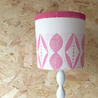 Handprinted Drum Lampshade, Lyme Road with Pink Edge