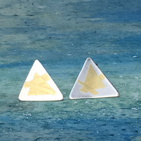 Triangular Stud Earrings with 24ct gold leaf detail