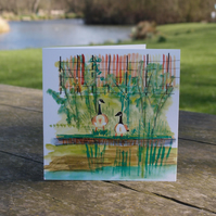 Canada Geese in Clissold Park greetings card