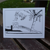 Garden outside Hackney Town Hall greetings card