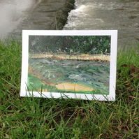 Weir by the bridge greetings card