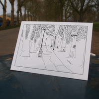 Avenue of trees, Highbury Fields greetings card