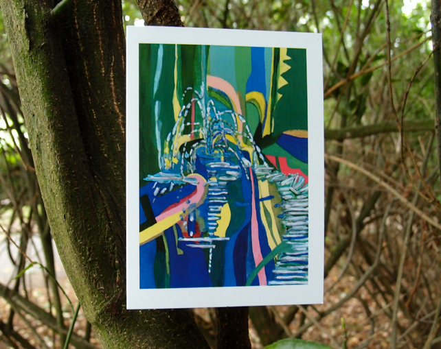 Fountain in the New River, Islington greetings card