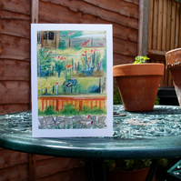 Row of gardens greetings card