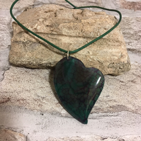 Heart Deep Green & Red Purple CRACKLE AGATE Ladies Pendant with Green Cord